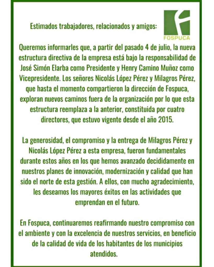 Jose Simon Elarba - Junta Directiva de Fospuca
